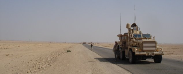 MRAPs on the road in Iraq