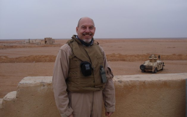 John Matel on roof in Iraq
