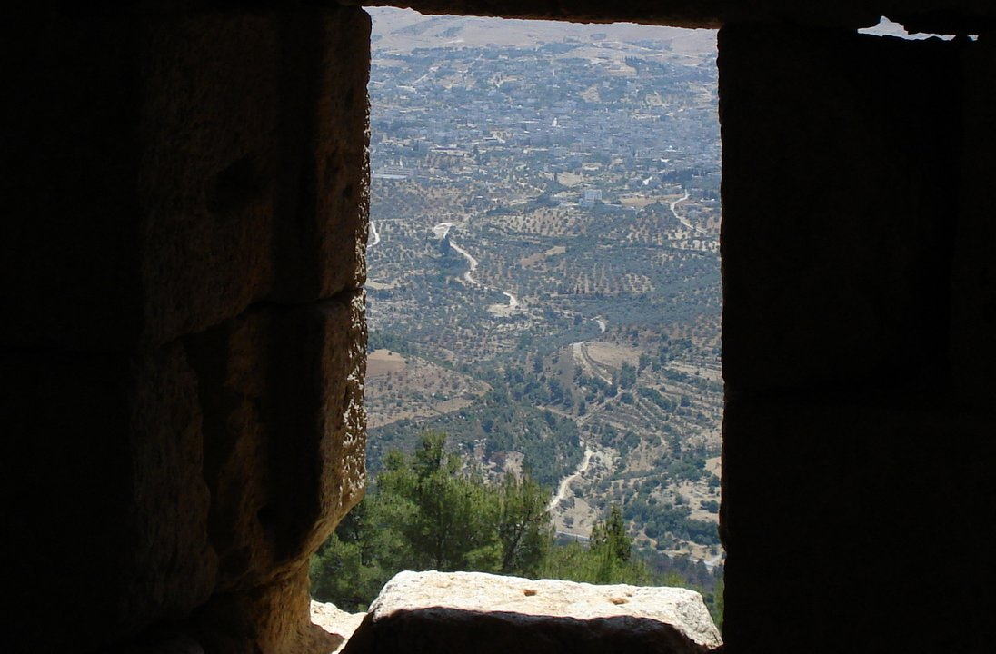 View from window Ajloun castle Iraq