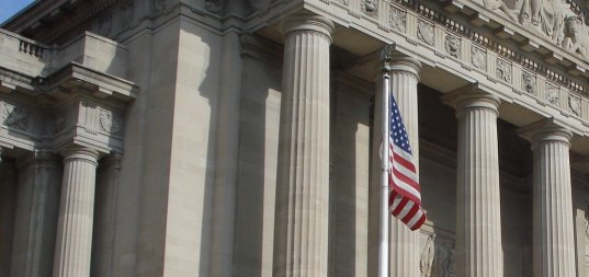 IRS building and American flag