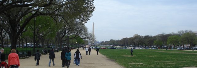 Tourist season is returning to Washington.  This is the Mall looking toward the Washington Monument at midday on April 13, 2009