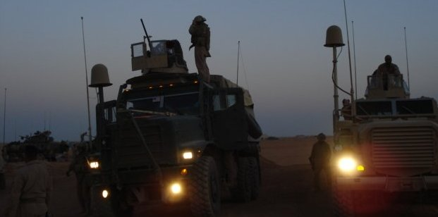 MRAPS at the end of the day in Mudasis Iraq in January 2008