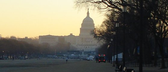 Capitol just after dawn looking east from Smithsonian taken on January 21, 2009