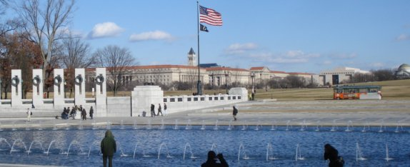 WWII Memorial looking east on January 9, 2009
