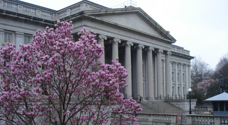 US Treasury building in Washington on March26, 2009