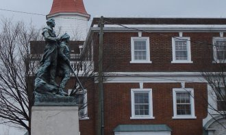 Lews & Clark statue near Main Street in Charlottesville, VA on March 13, 2009