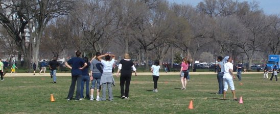 pick up football game on Smithsonian Mall on March 18, 2009