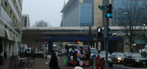 Train passing 6th St in Washington on March 18, 2009