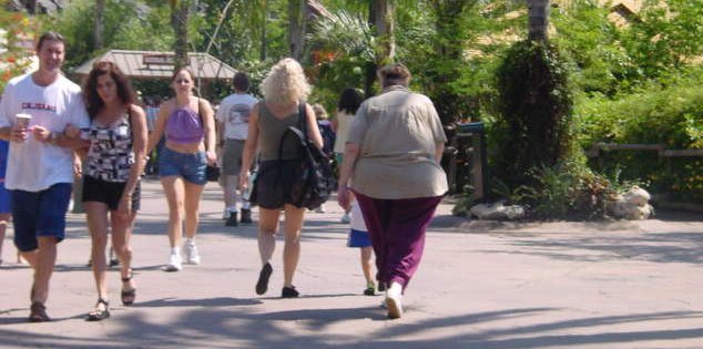 Fat woman at Universal Studios Orlando Florida in March 2002
