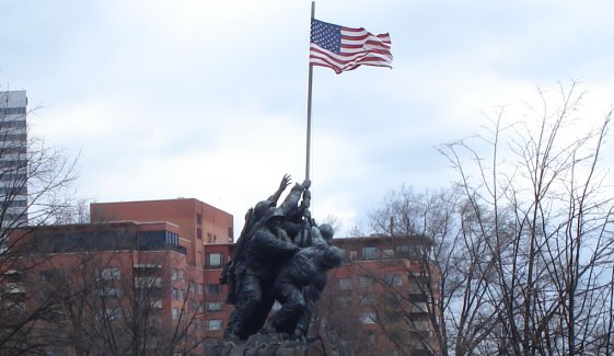 Marine Memorial in Arlington VA on a brisk and blustery morning,  March 30, 2009