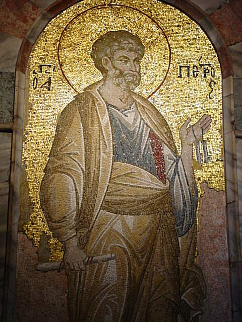 St Peter in Byzantine mosaic from Chora Chuch in Istanbul