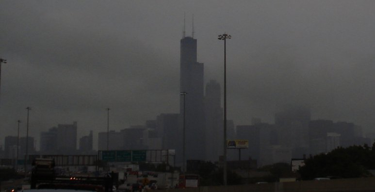 Fog in Chicago from the toll way