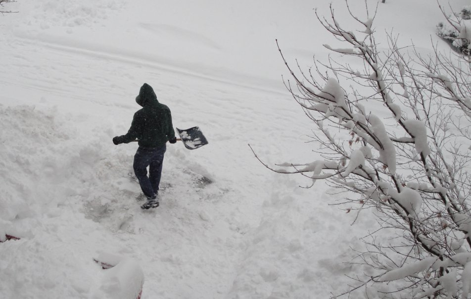 Espen digging out the driveway on February 7, 2010