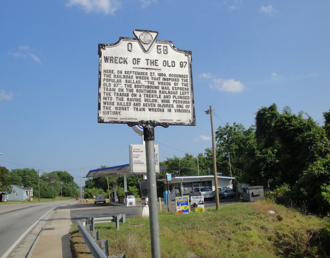 Sign on the site of the Wreck of the Old 97 near Danville, VA