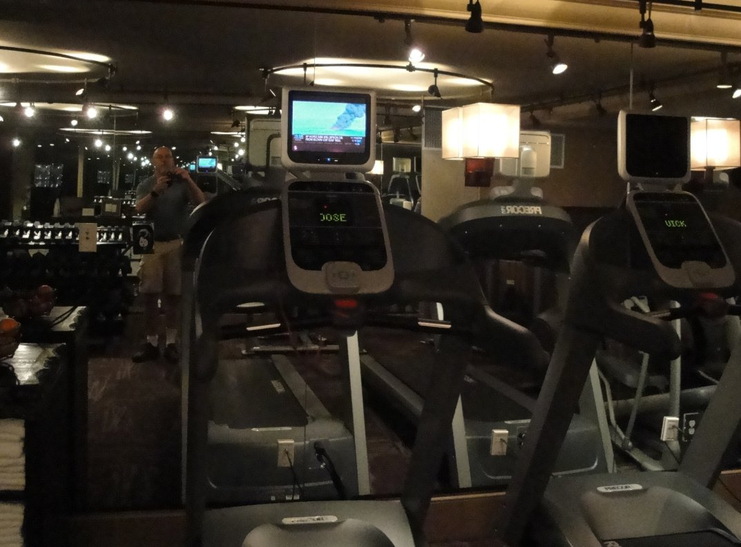 Treadmills and TV at Grand Bohemian