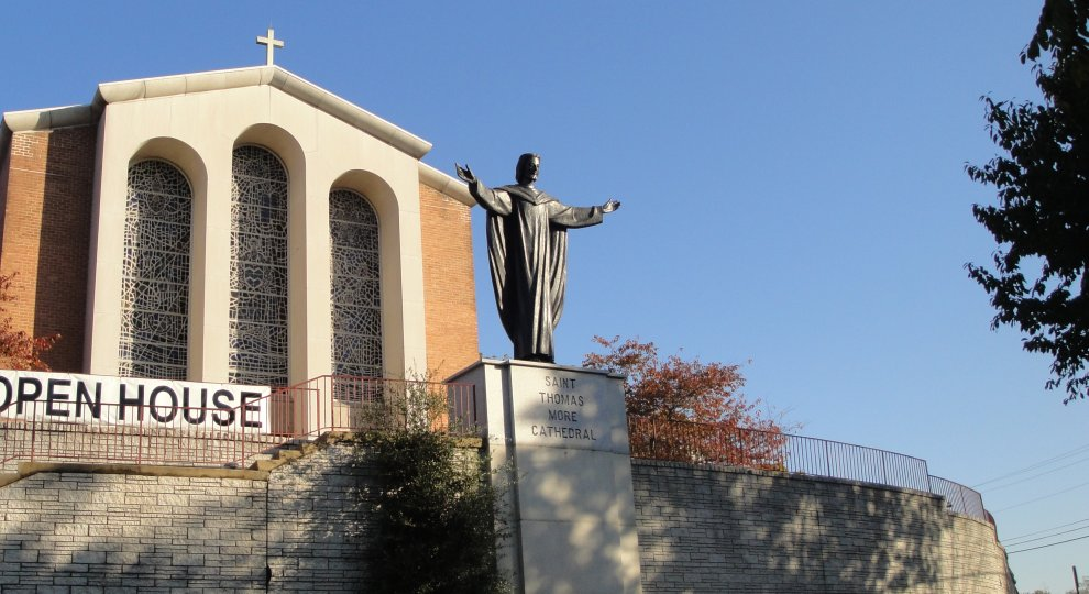 Statue of JesusCathedral of St Thomas Moore in Arlington, VA overlookking US 50
