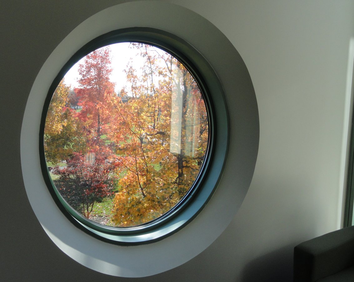 Round window at FSI showing late fall colors in trees