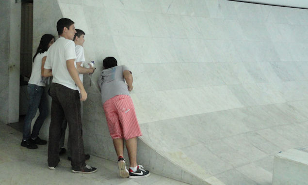 Whispering wall at Brasilia Cathedral
