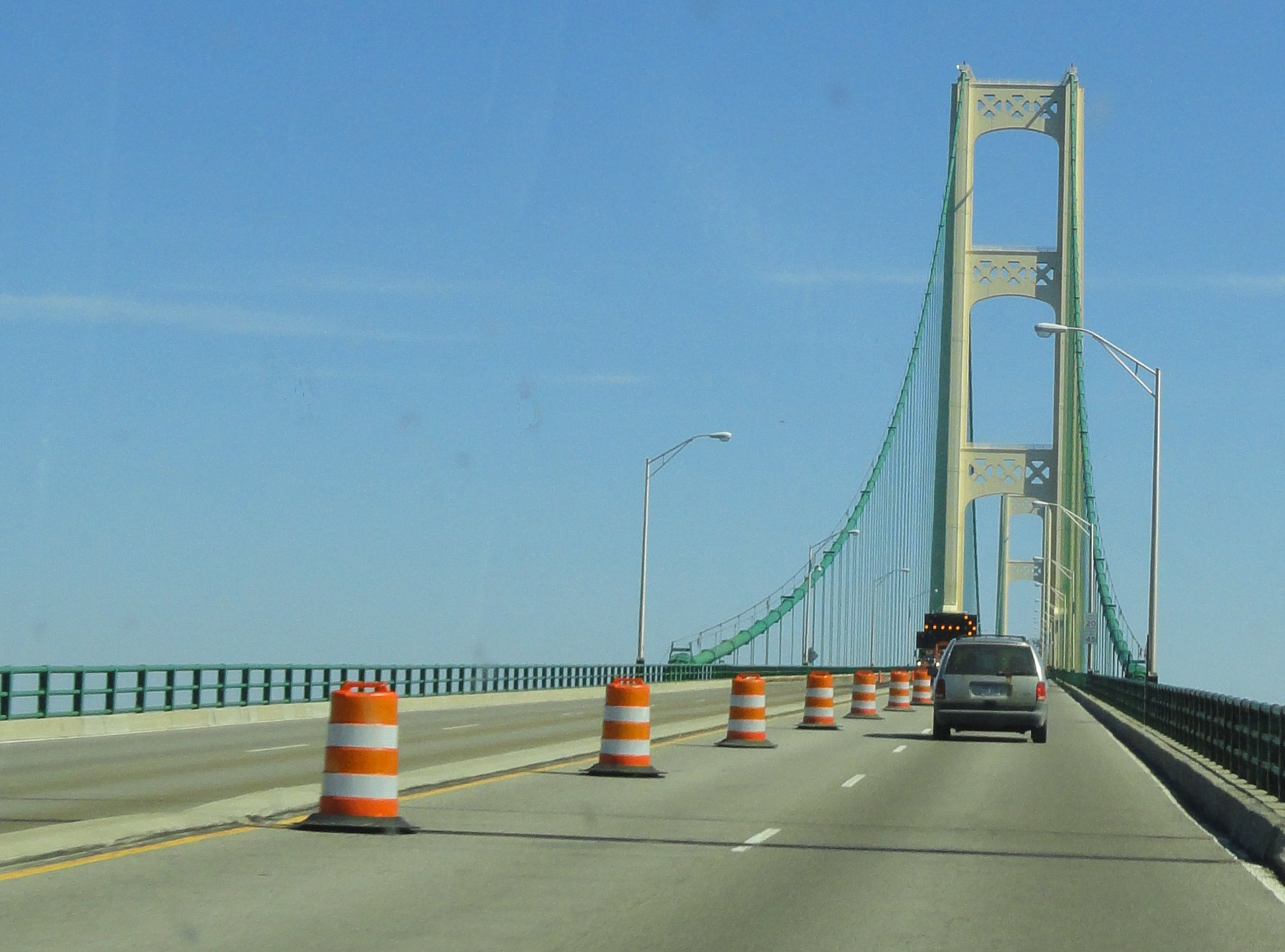 Going onto the Mackinac Bridge