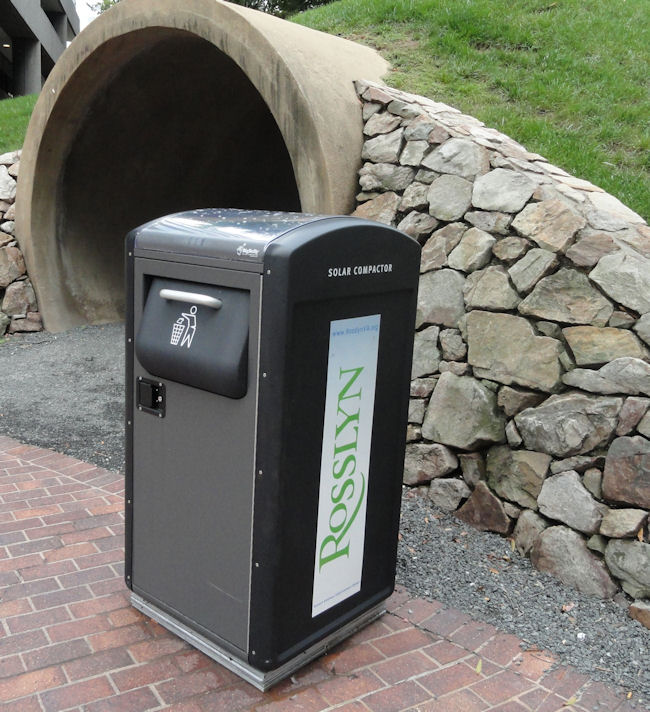 Solar powered garbage can