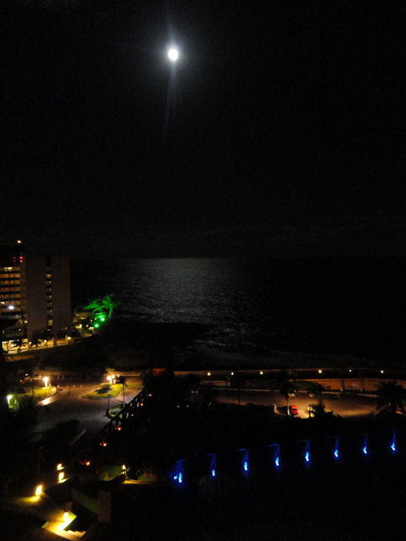 Moonlight over Atlantic Ocean in Salvador